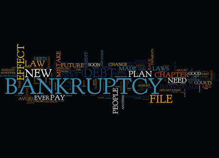 THE NEW BANKRUPTCY LAW WILL SOON BE IN EFFECT Text Background Word Cloud Concept Illustration