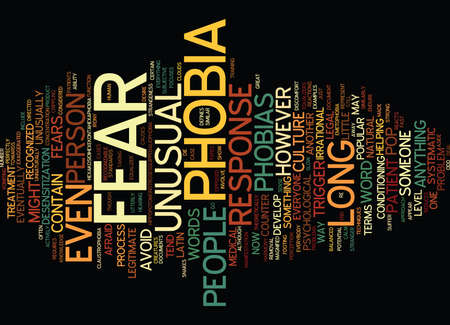 THE PATIENT AND THE UNUSUAL PHOBIA Text Background Word Cloud Concept Illustration