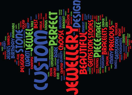 THE MOST BEAUTIFUL JEWELS CUSTOM JEWELS Text Background Word Cloud Concept Illustration