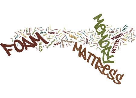 THE MEMORY FOAM MATTRESS Tekstachtergrond Word Cloud Concept