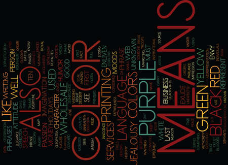 THE LANGUAGE OF COLOR Text Background Word Cloud Concept