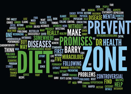 tumors: THE MIRACULOUS CLAIMS OF THE ZONE DIET Text Background Word Cloud Concept
