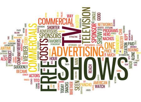DE ECONOMIE VAN GRATIS TV TOONT Tekst Achtergrond Word Cloud Concept