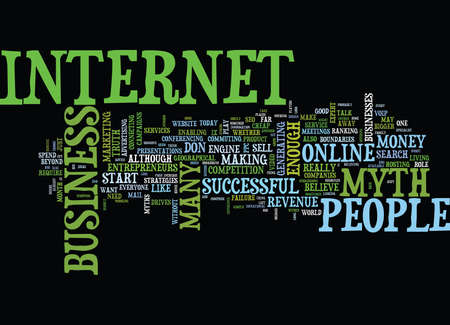 THE MYTHS THAT CAN KEEP YOU AWAY FROM ONLINE BUSINESS Text Background Word Cloud Concept