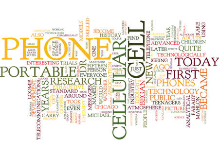 wirelessly: THE ORIGIN OF THE CELL PHONE Text Background Word Cloud Concept Illustration