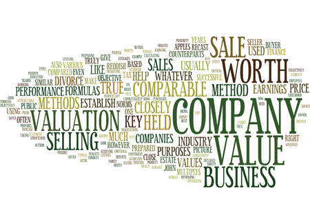 comparable: THE MOST EFFECTIVE METHODS TO DETERMINE YOUR COMPANY S VALUE Text Background Word Cloud Concept