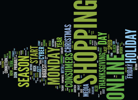 THE MYTH OF CYBER MONDAY Text Background Word Cloud Concept