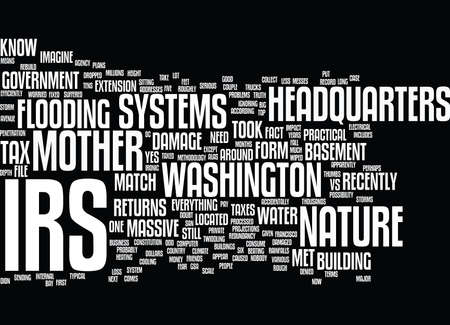 THE IRS VS MOTHER NATURE Text Background Word Cloud Concept