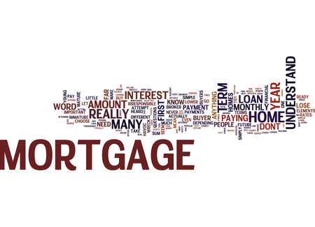 THE ELEMENTS OF A MORTGAGE Text Background Word Cloud Concept