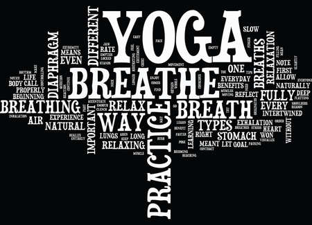 YOGA AND THE BREATH Text Background Word Cloud Concept