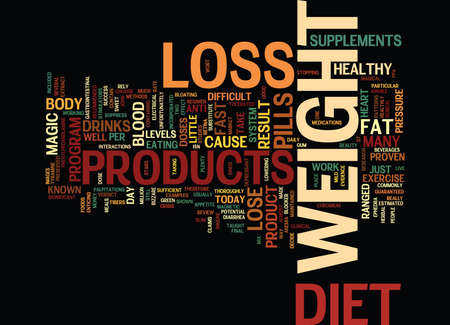 THE MAGIC OF WEIGHT LOSS Text Background Word Cloud Concept Çizim