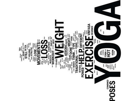 YOGA EXERCISE FOR WEIGHT LOSS DOES IT WORK Text Background Word Cloud Concept Illustration