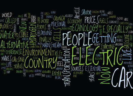 THE IMPORTANCE OF THE ELECTRIC CAR Text Background Word Cloud Concept