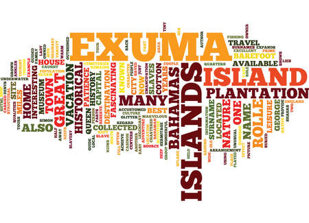 THE EXUMA ISLANDS OF THE BAHAMAS Text Background Word Cloud Concept