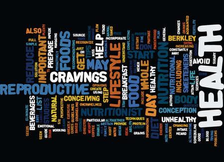 THE EFFECTS OF DIET ON INFERTILTIY Text Background Word Cloud Concept Stock Illustratie