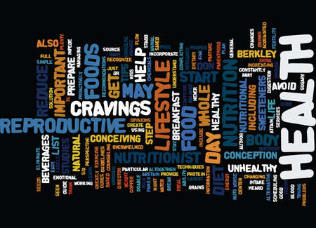 THE EFFECTS OF DIET ON INFERTILTIY Text Background Word Cloud Concept Illustration