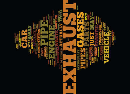 THE EXHAUSTED EXHAUST PIPE Text Background Word Cloud Concept