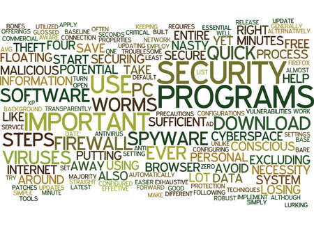 THE MINUTE SECURE PC Text Background Word Cloud Concept