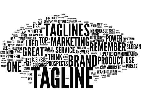 DE KRACHT VAN TAGLINES NEEM MIJN TAGLINE-TEST Tekstachtergrond Word Cloud Concept Stock Illustratie