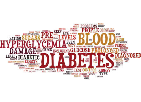 THE EFFECTS OF PROLONGED HYPERGLYCEMIA Text Background Word Cloud Concept