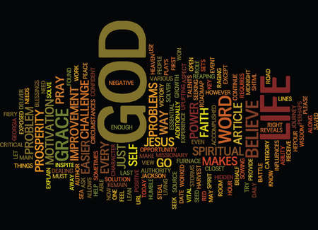 THE POWER OF GOD MAKES LIFE EASIER Text Background Word Cloud Concept