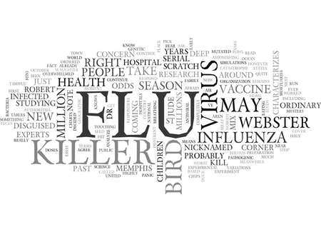 THE NEXT KILLER FLU CAN WE STOP IT Text Background Word Cloud Concept Illustration