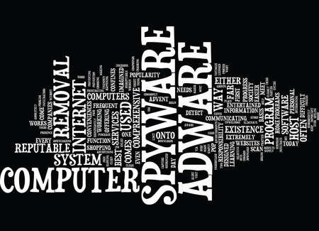 insidious: THE INS AND OUTS OF ADWARE SPYWARE REMOVAL Text Background Word Cloud Concept Illustration