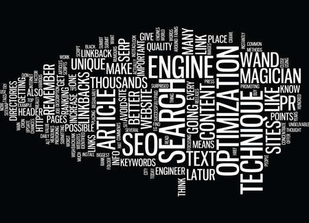 THE MAGICIAN S WAND SEO TECHNIQUE Text Background Word Cloud Concept