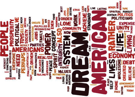 lords: THE POLITICS OF THE AMERICAN DREAM Text Background Word Cloud Concept