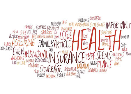 er: THE IMPORTANT OF HEALTH INSURANCE Text Background Word Cloud Concept Illustration