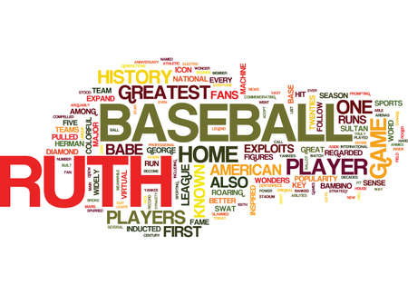 THE LEGEND OF BABE RUTH Text Background Word Cloud Concept