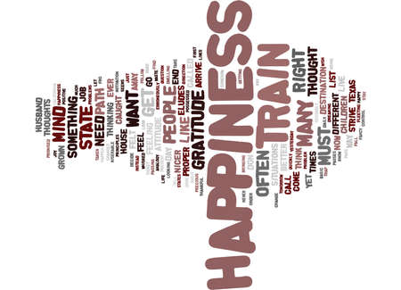 THE PATH TO HAPPINESS Text Background Word Cloud Concept Ilustração