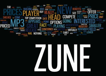 THE NEW ZUNE MP PLAYER IS IT OVERPRICED Text Background Word Cloud Concept