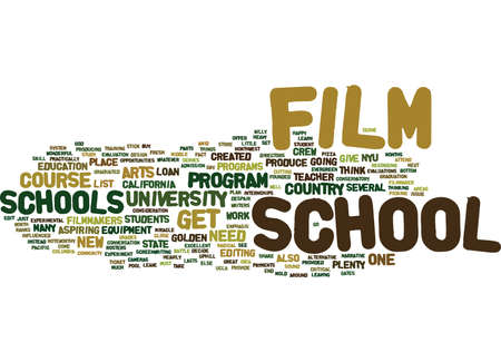 THE JOYS OF FILM SCHOOL Text Background Word Cloud Concept