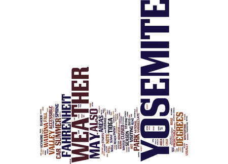 YOSEMITE VILLAGE Text Background Word Cloud Concept