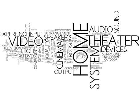 THE INSIDE AND OUT OF A HOME THEATER Text Background Word Cloud Concept Illustration