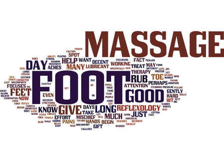 THE JOY OF THE FOOT MASSAGE Text Background Word Cloud Concept Illustration