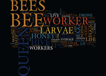 THE LIFE CYCLE OF THE HONEY BEE Text Background Word Cloud Concept