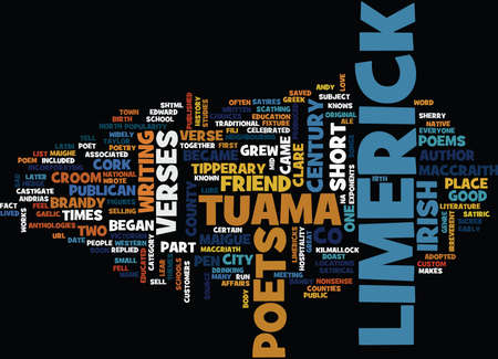 THE LURE OF THE LIMERICK Text Background Word Cloud Concept