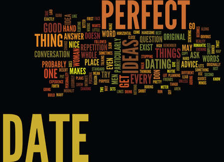 THE PERFECT DATE Text Background Word Cloud Concept