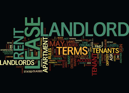 THE MINEFIELDS IN YOUR LEASE Text Background Word Cloud Concept