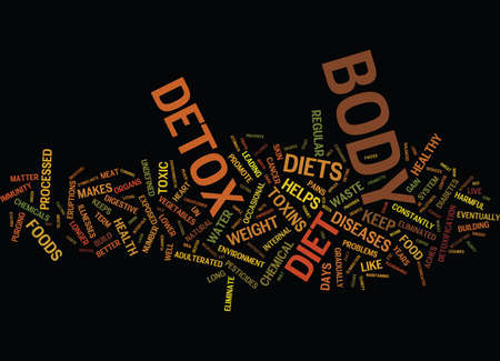 THE ON DETOX DIETS Text Background Word Cloud Concept