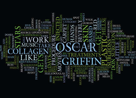 THE OSCARS MEAN BIG BUSINESS FOR PLASTIC SURGEONS Text Background Word Cloud Concept