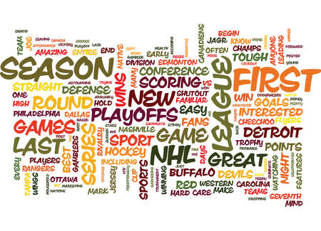 edmonton: THE NHL PLAYOFFS ARE HERE DOES ANYONE CARE Text Background Word Cloud Concept Illustration
