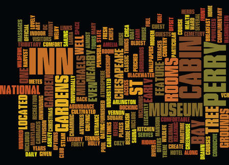 THE INN AT PERRY CABIN Text Background Word Cloud Concept