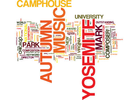 YOSEMITE AUTUMN Text Background Word Cloud Concept