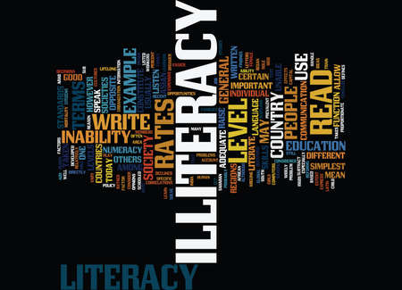 illiteracy: THE PROBLEM OF ILLITERACY Text Background Word Cloud Concept Illustration