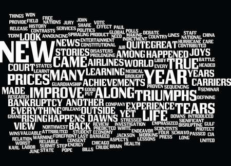 YEAR IN REVIEW TOP NEWS STORIES OF Text Background Word Cloud Concept Illustration