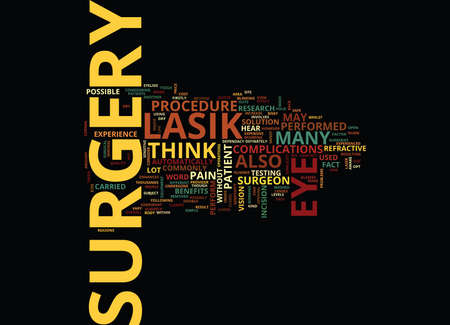 THE INS AND OUTS OF LASIK EYE SURGERY Text Background Word Cloud Concept Illustration