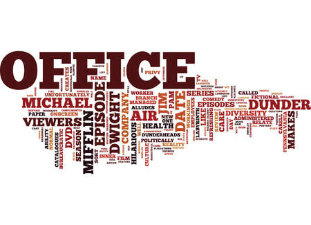 THE OFFICE DVD REVIEW Text Background Word Cloud Concept Illustration